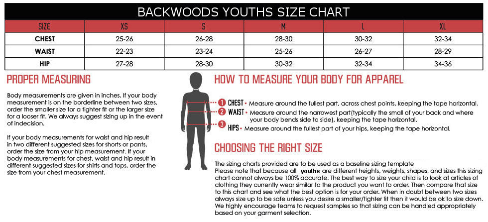 Kids Hunting Clothes Sizing Chart