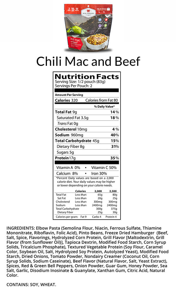 Wise Food Chili Mac with Beef Camping Food Nutritional Facts
