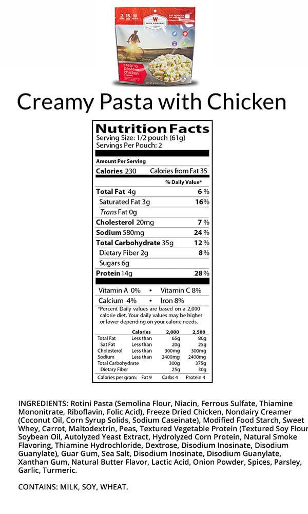 Wise Food Creamy Pasta with Chicken Camping Food Nutritional Facts