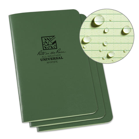 Rite in the Rain Stapled All Weather Mini Notebook 3-pack Green