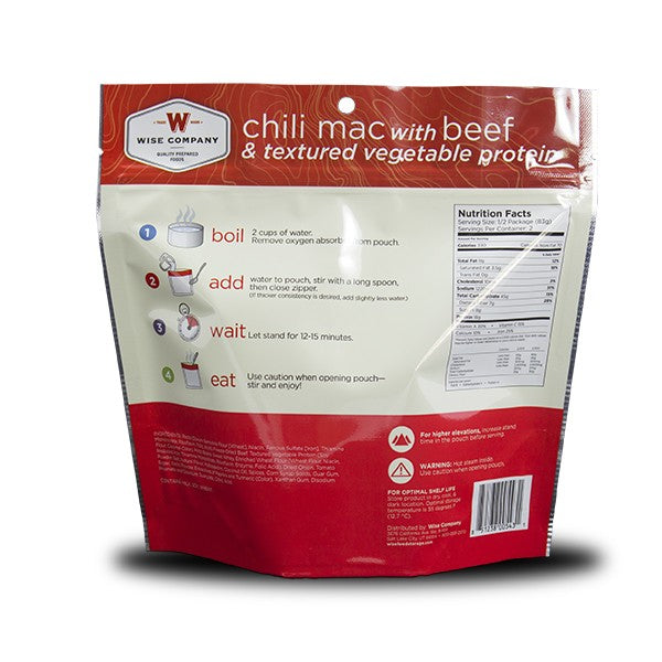Chili Mac with Beef Camping Food (Case of 6) - Survival Gear Canada