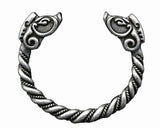 2 3/4 inch diameter handmade antique silver plated Norse Viking bracelet featuring an intricate twist and wild boar head figures at the ends. Based on silver ones from the Viking age it is made of a durable pewter type zinc alloy that will stand up to all your Viking activities. The bracelet can be adjusted by warming in the sun and taking on and off.