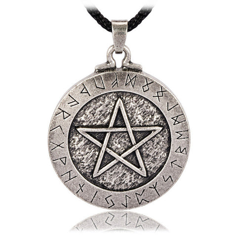 Large Rune Pentacle Pendant Pentagram Jewelry Wiccan Necklace Norse Pagan Runes N043