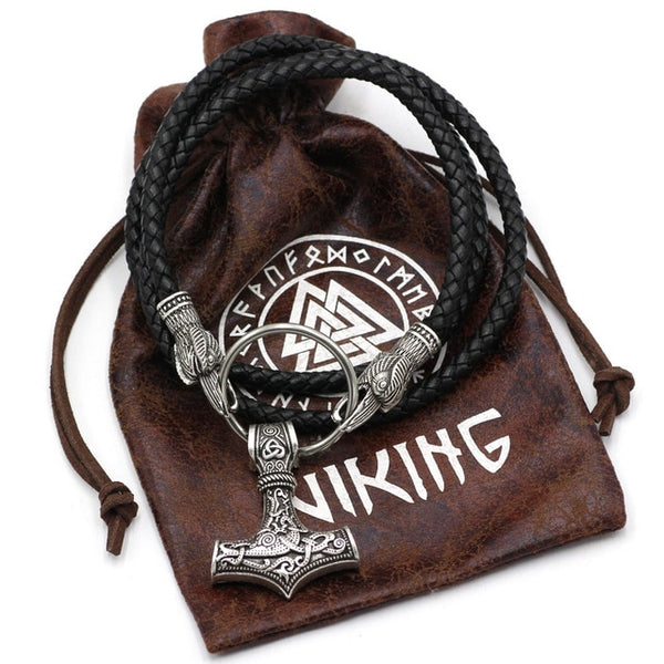 Norse Viking Leather Cord Odin's Ravens Of Thor's Hammer Mjolnir Necklace NLID002