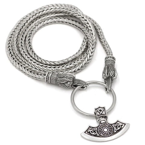A Norse Viking Snake Chain Odin's Ravens Of Thor's Axe Necklace NLID004
