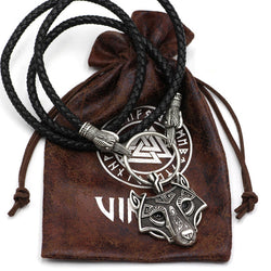 Norse Viking Leather Cord Odin's  Ravens Of Thor's Wolf Necklace NLID003