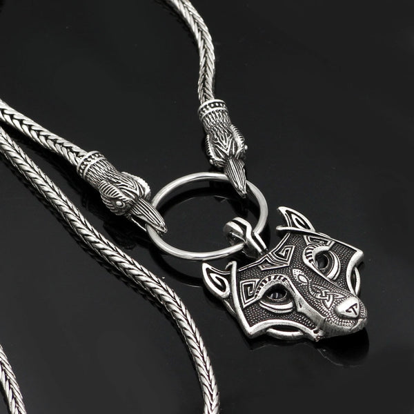 A Norse Viking Metal Cord Odin's Ravens Of Thor's Wolf Necklace NLID006