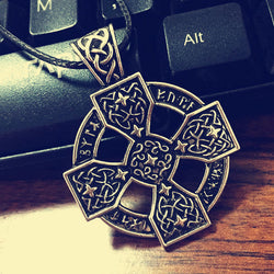 Norse Viking Sunwheel Cross Rune Necklace Pendant  N015
