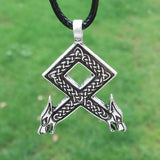 Viking Merchant - Wolf Heads Rune Pendant Necklace N035