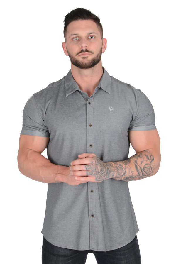 YoungLA Athletic Fit Dress Shirt Button Down Short Sleeve 418