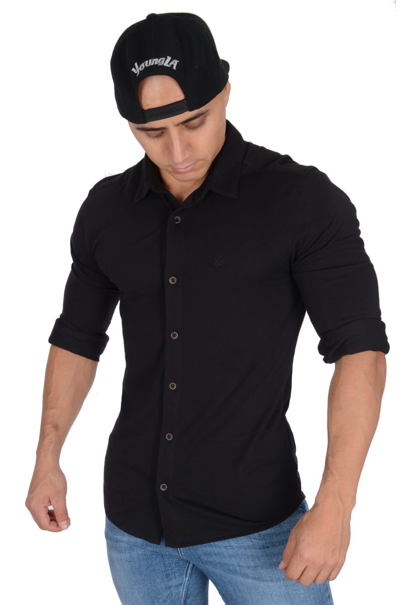 YoungLA Athletic Fit Dress Shirt Button Down 415