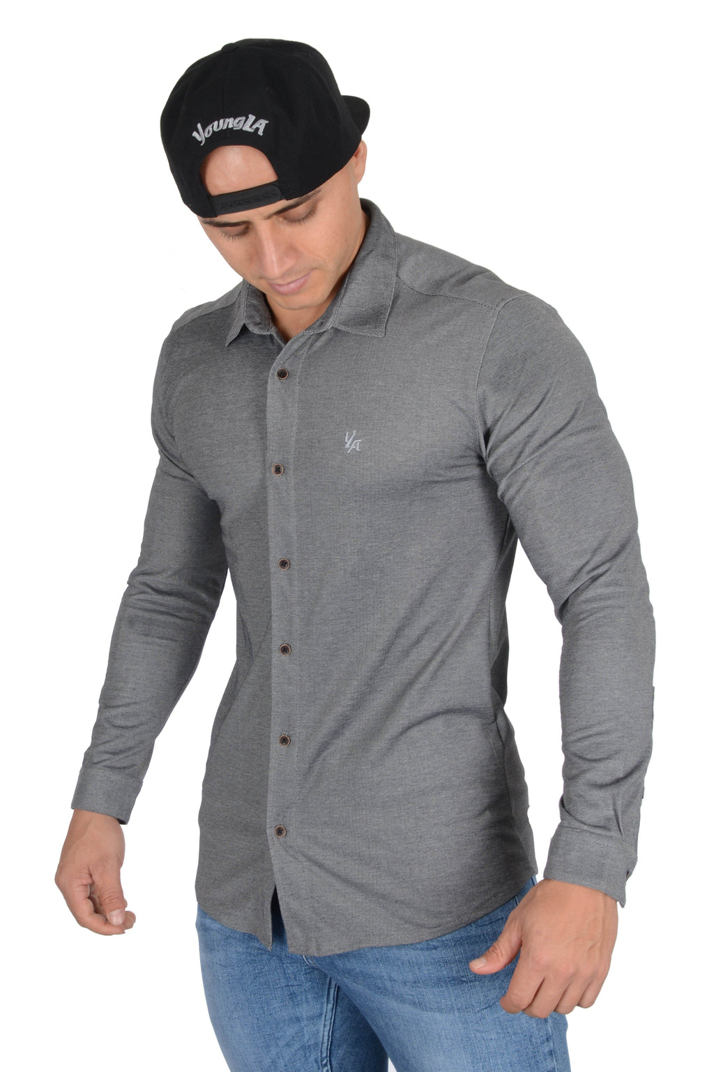 YoungLA Athletic Fit Dress Shirt Bottom Down 415