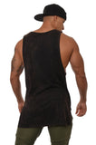 YoungLA Long Tank Tops for Men Muscle Shirt Bodybuilding Everyday Wear 306 Black Acid Washed