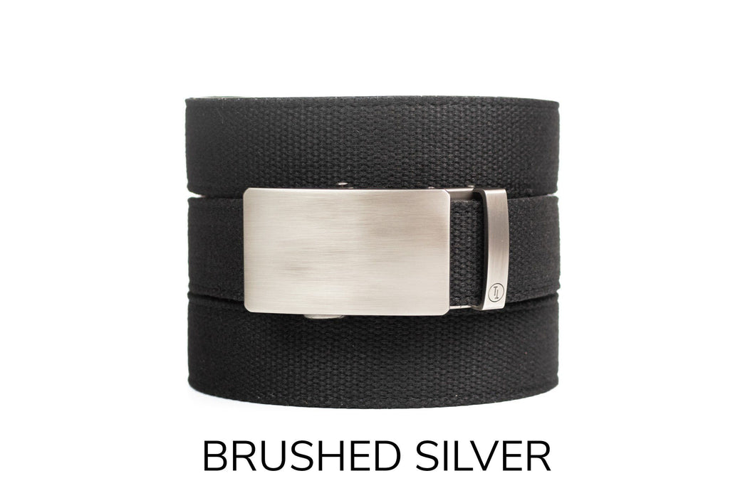 Black Canvas Ratchet Belt & Buckle Set - Tough Tie