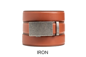 Chili Brown Leather Ratchet Belt & Buckle Set - Tough Tie