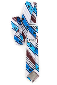 back view of david and goliath striped tie tough apparel