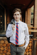 Load image into Gallery viewer, Charles - Navy and Red Striped Tie