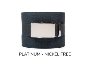 Steel Grey Canvas Ratchet Belt & Buckle Set