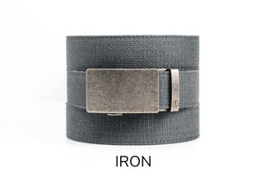 Steel Grey Canvas Ratchet Belt & Buckle Set - Tough Tie