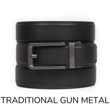 Load image into Gallery viewer, EDC Black Leather Gun Ratchet Belt & Buckle Set