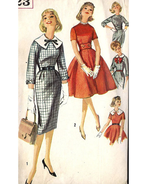 1950-bib-dress-necktie-bow-fashion