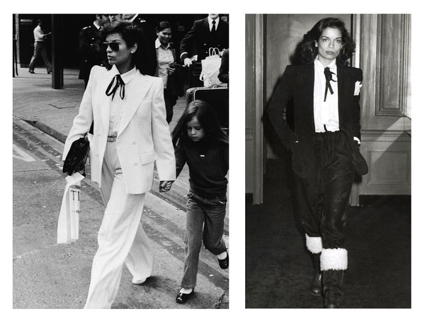 Bianca-Jagger-style-icon-neckties