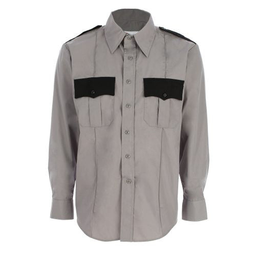 Men's Two-Tone Polyester/Cotton Long Sleeve Uniform Shirt