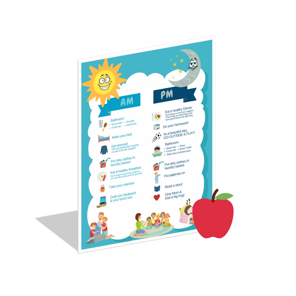AM & PM Kids Schedule ], Educational Chart- The Hamptons Baby Co.
