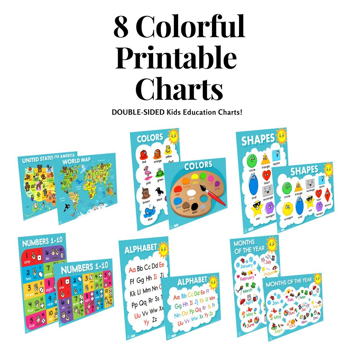 Educational Charts, Double-Sided - ABC's, Counting, Colors, Shapes & More ], Educational Chart- The Hamptons Baby Co.