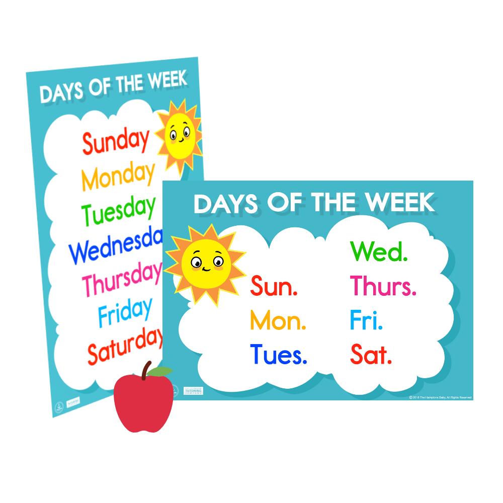 Days Of The Week ], Printables- The Hamptons Baby Co.
