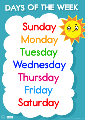 Image of Days Of The Week ], Printables- The Hamptons Baby Co.