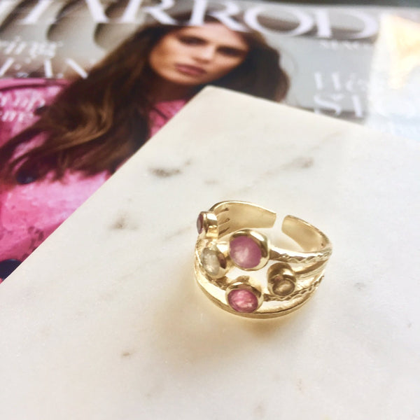 Pink stacked multistone ring