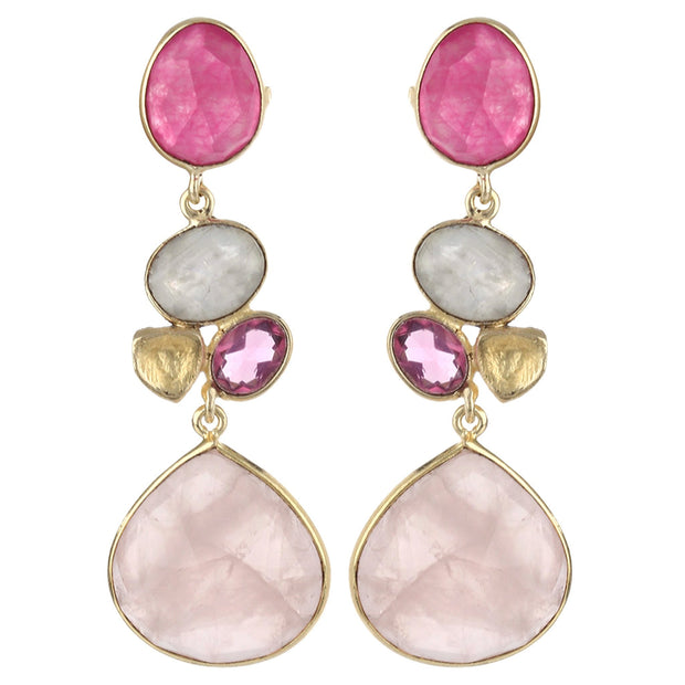 Rini radiant long floral earrings - Pink
