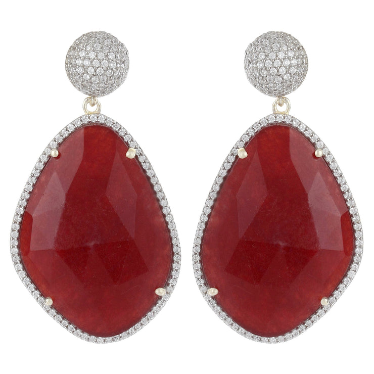 Glamorous Chandelier Earrings - Red Jade