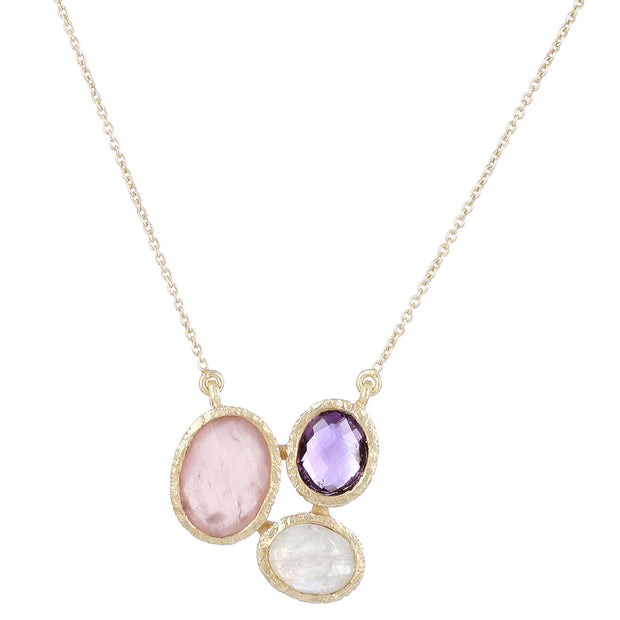 Ria necklace - pink rose quartz