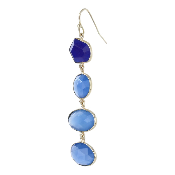 Liya Long drop multistone earrings - Blue