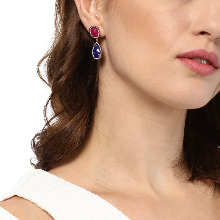 Dainty double drop earrings, ruby with lapis lazuli