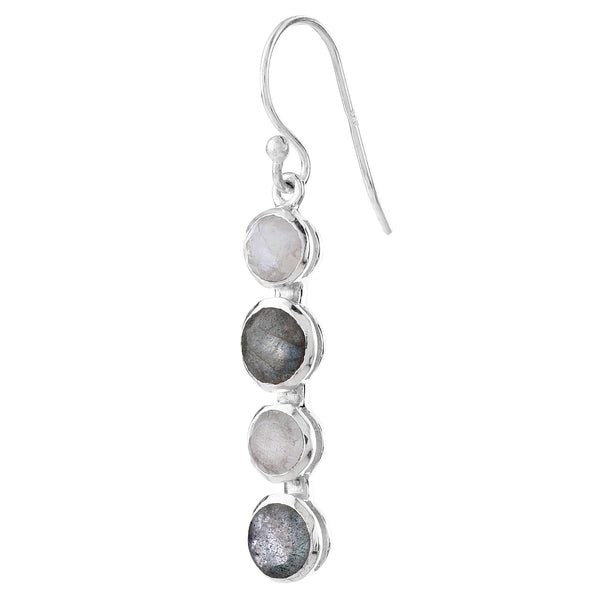 Dangling hook earrings - moonstone and labradorite