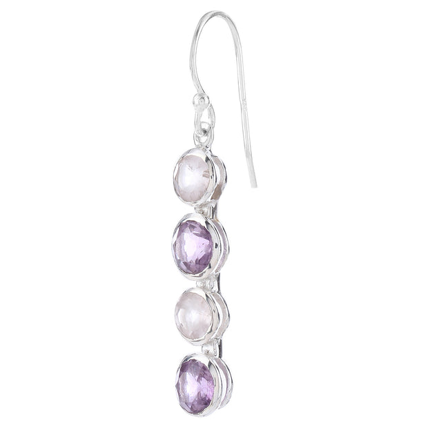 Dangling hook earrings - rose quartz and amethyst