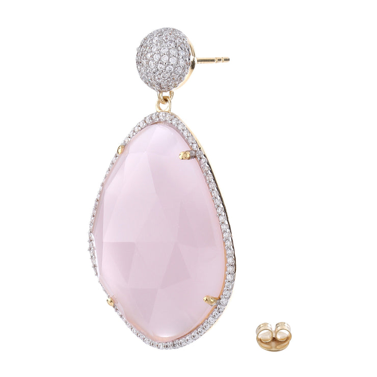Glamorous Chandelier Earrings - Rose Quartz