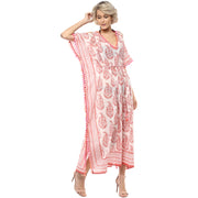 Rini rose pink maxi kaftan with cold shoulders