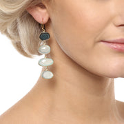 Liya Long drop multistone earrings - Green