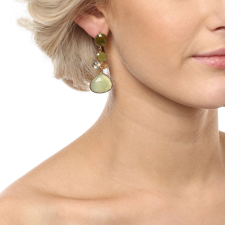 Rini radiant long floral earrings - Green