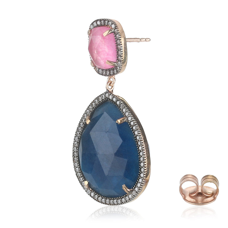 Alluring jade drop earrings in pink and blue
