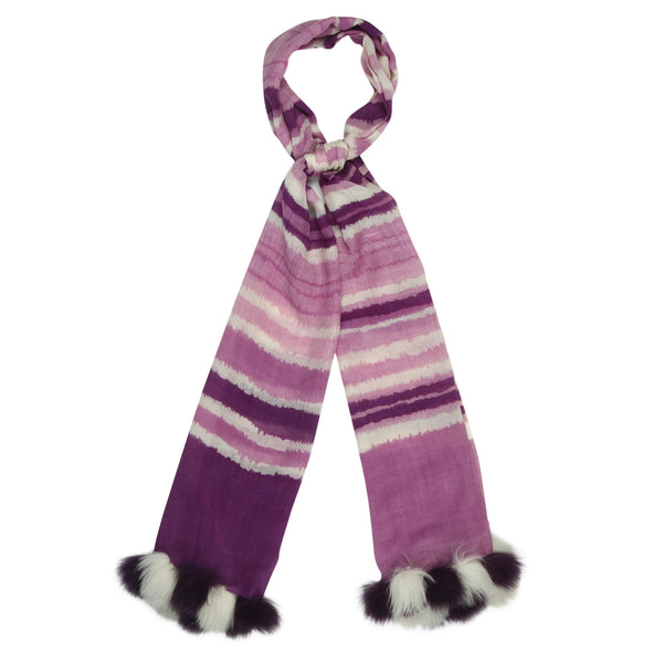 Faux fur trim striped stole