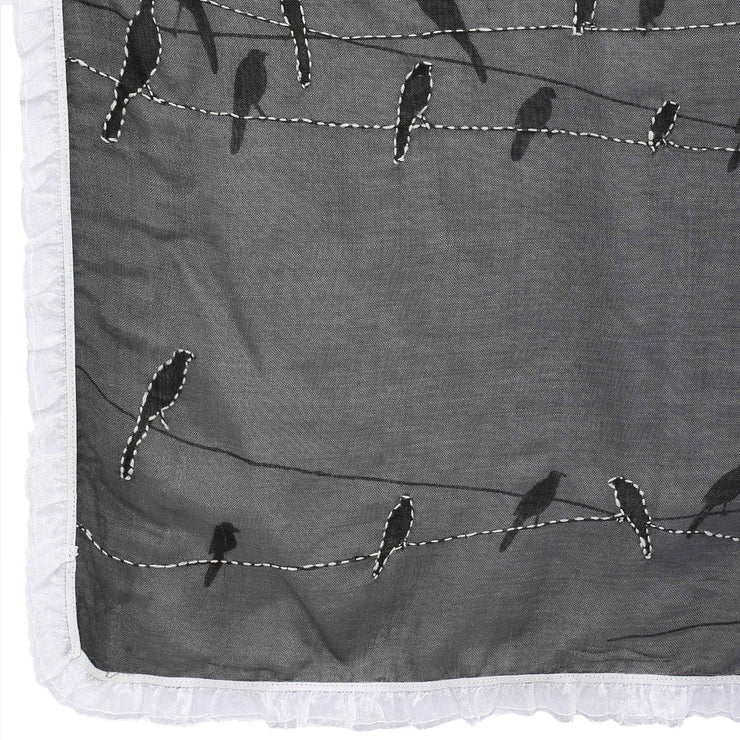 Birds on a wire scarf - fossil grey