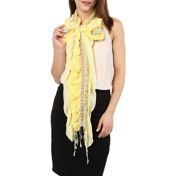 Ruffled striped scarf - daffodil yellow