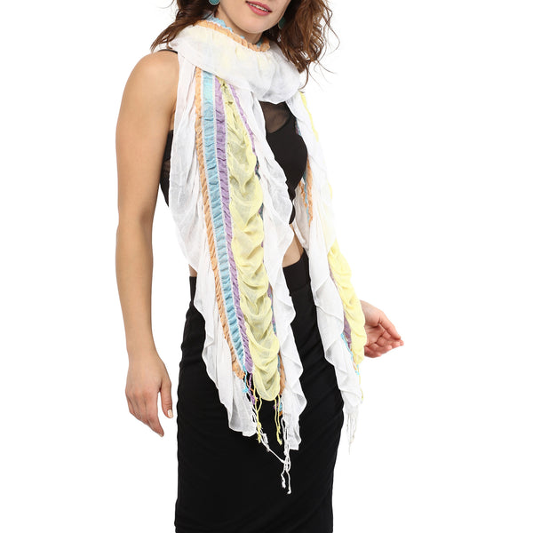 Ruffled striped scarf - daisy white