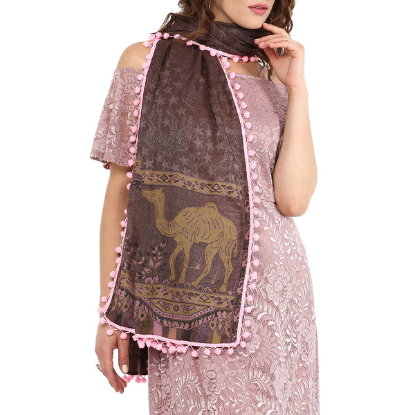 Camel safari scarf - rosewood brown