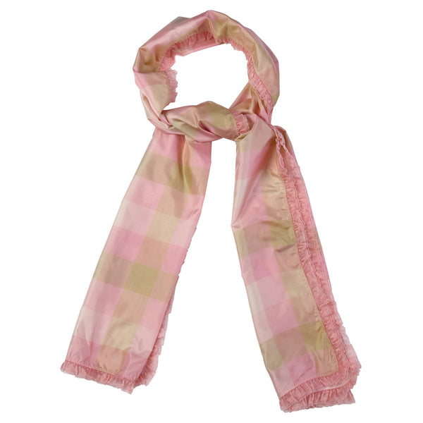 Chequered charm stole - flamingo pink